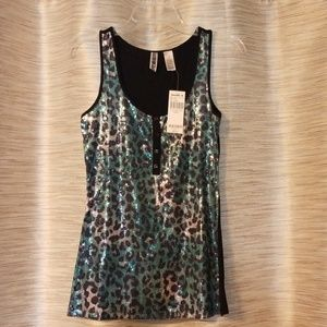 Leopard sequins tank top